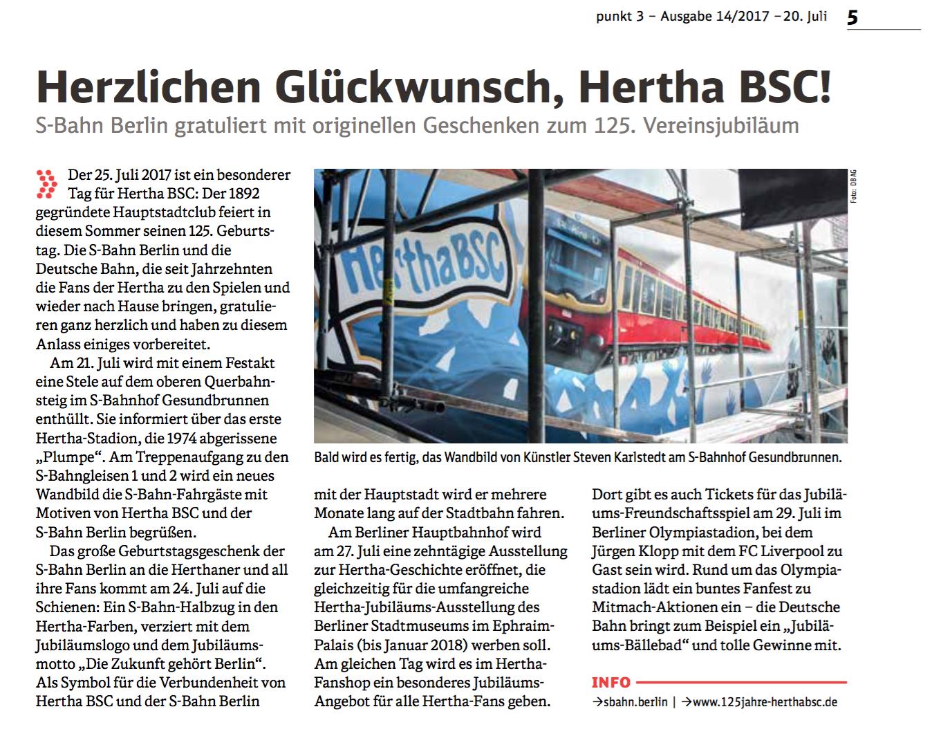 Steven Karlstedt hat für die Deutsche Bahn, im Rahmen des Jubiläums von Hertha BSC, den Bahnhof Gesundbrunnen verschönert.